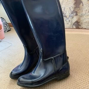 Rubber boots - riding boots style. Navy blue